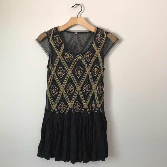 Free People Tops - Free People lace beaded blouse tunic top